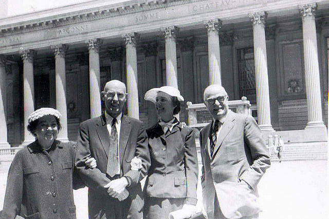 Isabel, Amos Niven, Catharine, and Thornton Wilder at Yale, June, 1956