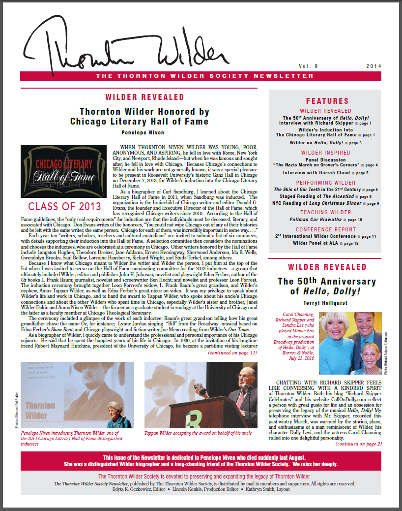 2014 Thornton Wilder Society Newsletter